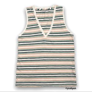 Madewell Striped Whisper V Neck Tank Top Small